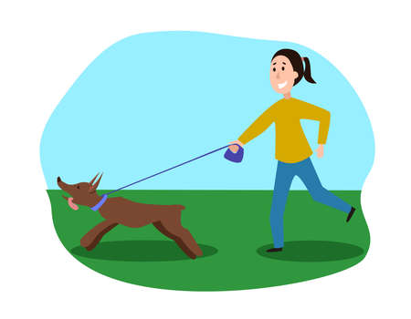 Running woman with dog flat illustration. Pet and owner of cartoon characters in the Park. Vector Stock image. Illusztráció