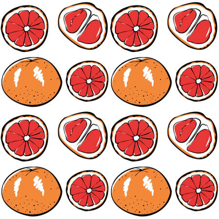 Seamless vector pattern of colored grapefruit on a white isolated background. For fabric, cover and background. Иллюстрация
