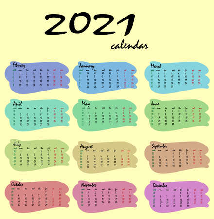 Calendar for 2021. Vertical calendar template on a yellow background. An editable vector file is available. English language and version from Sunday to Monday and the number of weeks. Vettoriali