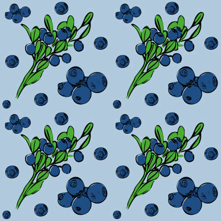 Seamless vector pattern with blueberries on a lilac isolated background. Hand-drawn pattern. For fabric, cover, and background. Illustration