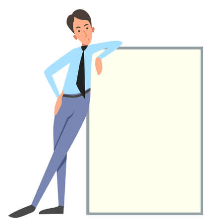 Vector illustration of an office worker on a white isolated background. A man in trousers and shirt holds a banner, a poster. Free space for the text.