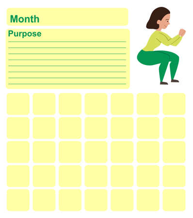 Annual wall planner for one month. Template with an illustration of a girl doing squats. Vector illustration