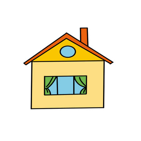 Colorful cartoon house. Doodle style. Vector illustration on a white isolated background.