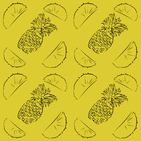 Seamless vector pattern of pineapple outline on yellow isolated background. For fabric, cover, and background.