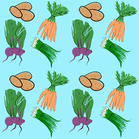 Easy Seamless Vegetable Pattern. Vector illustration isolated on a blue background. Editable template in the samples.