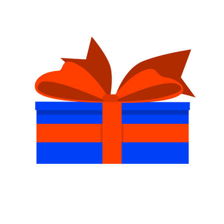 Gift in a blue box with a red ribbon. Surprise with a beautiful bow. Flat style. For a , banner, or postcard. Vector illustration on a white isolated background.
