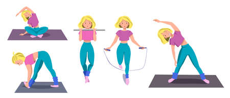 Seth is a sporty girl who goes in for sports. The girl pulls herself up, jumps on the rope, makes bends, sits in the Lotus position. Vector illustration on a white isolated background.
