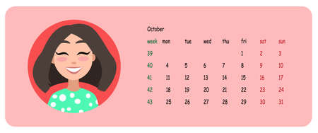 Female user profile. Calendar for the month of october 2021. A character for a screen saver with emotions. Vector illustration. 向量圖像