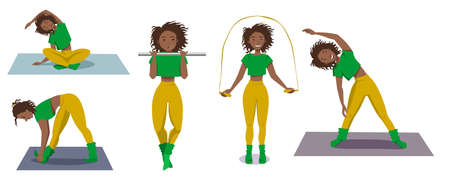 Seth is a sporty dark-skinned girl who goes in for sports. The girl pulls herself up, jumps on the rope, makes bends, sits in the Lotus position. Vector illustration on a white isolated background.