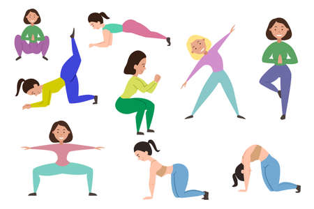 Set sports girls who play sports. Different yoga poses. Vector illustration on a white isolated background.