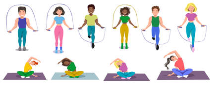 Seth is a sports person who plays sports. A girl and boys jump on a rope, make bends, sit in the Lotus position. Vector illustration on a white isolated background.