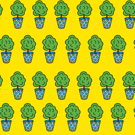 Pattern of a Flower in a blue pot. Houseplant. Doodle style.Vector illustration on a yellow isolated background.