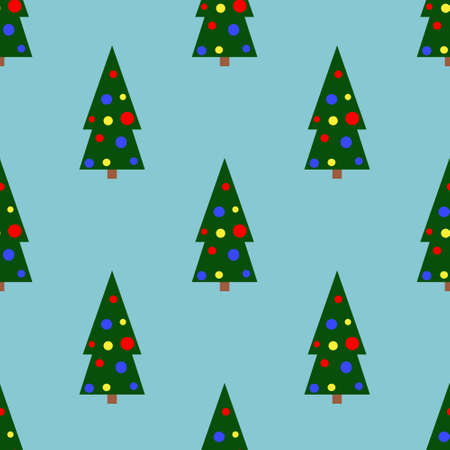 Vector seamless pattern of simple Christmas tree with balloons as a symbol of happy Christmas celebration on blue background. Background for textiles, covers, packaging paper.Flat style