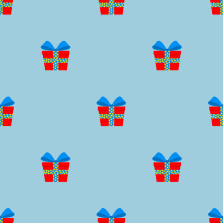 Seamless pattern of gifts in red boxes with a blue ribbon. Surprise with a beautiful bow. Flat style. For background, screen saver, and design. Vector illustration on a blue isolated background Ilustracja