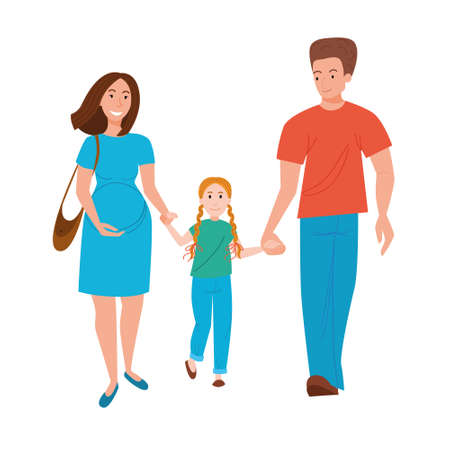 A couple of parents walk with their daughter, holding hands. A happy family walks with a child waiting for their second child. Vector illustration in a flat style.