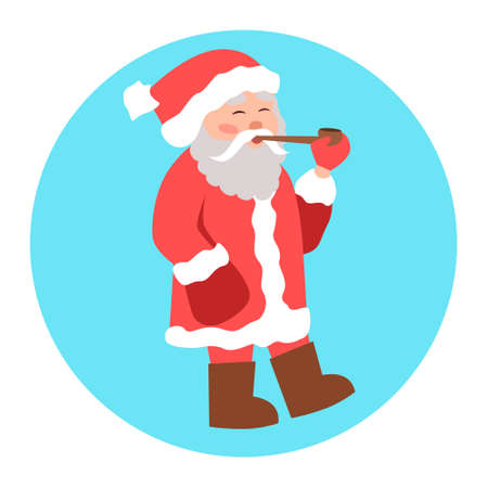Vector illustration of Santa Claus, who casually walks and smokes a pipe. The motives of the Christmas, holiday, winter holidays, new year