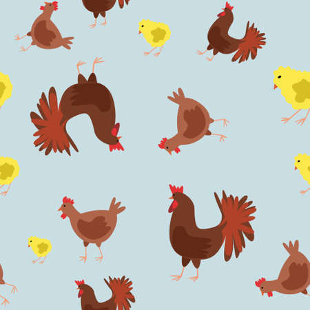 Seamless vector pattern with pet birds on a blue background. Background for textiles, covers, screensavers, children is bed linen.