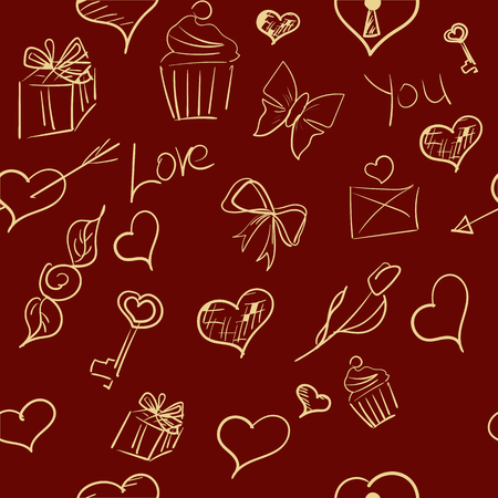 Valentines day ornate background. hand-drawn seamless pattern