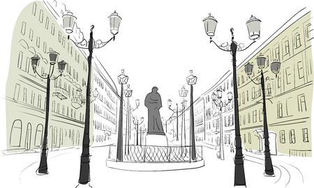 city alley: traveling old building sketch vector Illustration