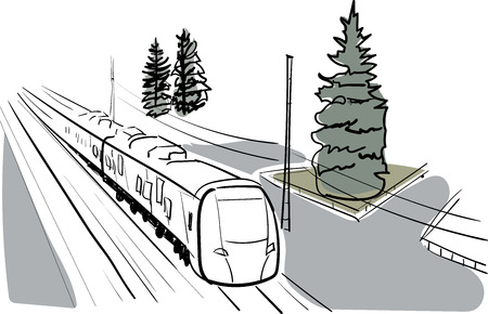 highspeed: Vector sketch and watercolor train Illustration