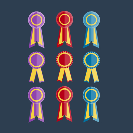 purple, red and blue award rosette with ribbon