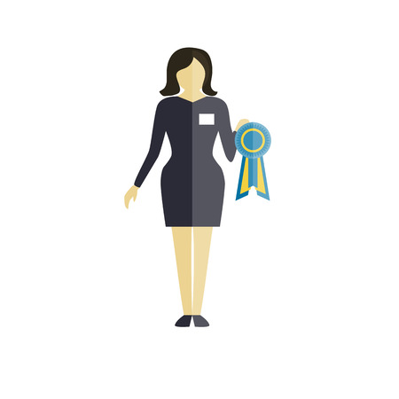 Expert of dog show - women in grey costume with award