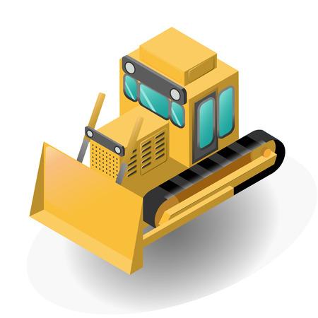 Isolated isometric yellow model of bulldozer. Vector illustration Vettoriali