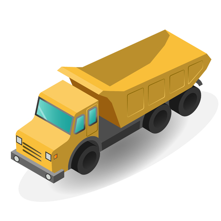 Cargo Truck isolated. Flat 3d isometric high quality icon