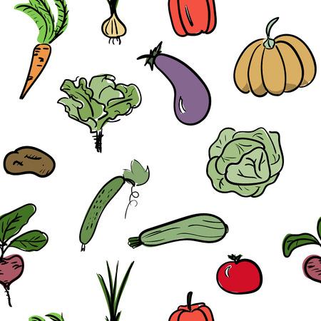 手描き下ろし野菜シームレス パターン。ベクトル図  イラスト・ベクター素材