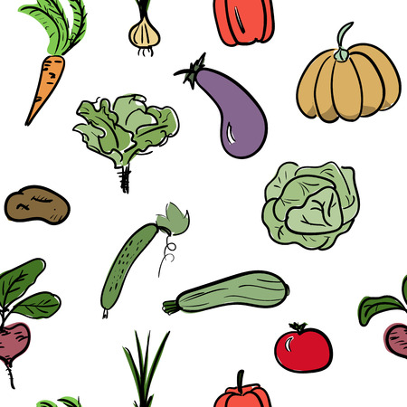 Hand drawn vegetable seamless pattern. Vector illustration Ilustração
