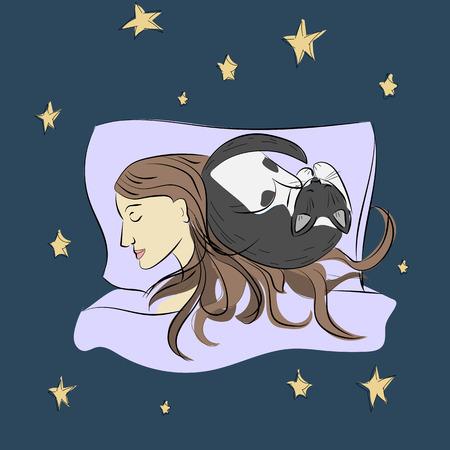 Sleeping girl with cat. Sketch. Vector
