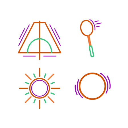 tracking: Sports thin line icon set for web and mobile. Sun, ball, racket, tent flat design Illustration