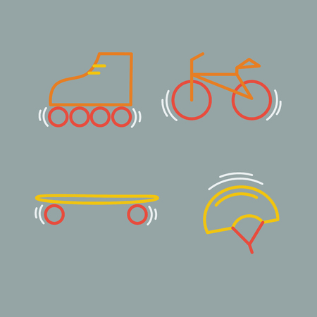 Sports thin line icon set for web and mobile. Bicycle, skatebords, skates, helmet flat design
