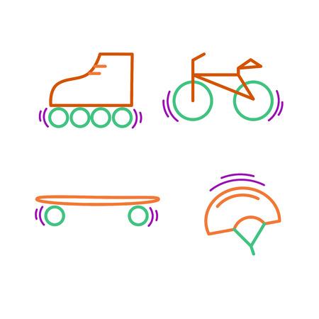 Sports thin line icon set for web and mobile. Bicycle, skatebords, skates, helmet flat design