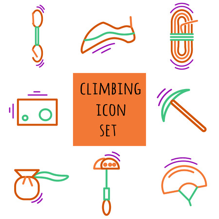 magnesia: Sports thin line icon set for web and mobile. Climbing equipment flat design. Illustration