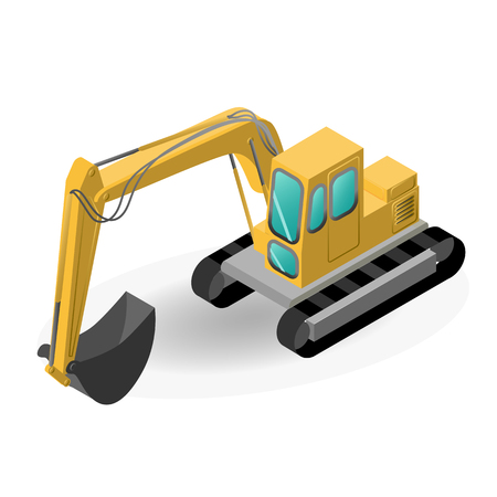 vector illustration of the excavator, construction isometric