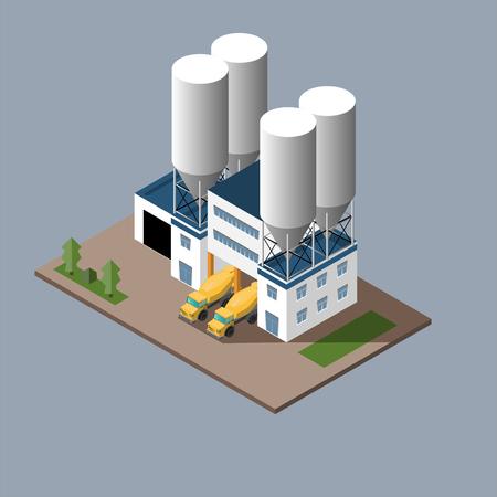 コンクリート コンクリート ミキサー コンクリート輸送の読み込みの生産のベクトル イラスト