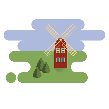 Red mill in village icon Illustration