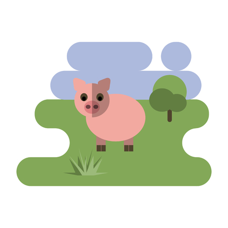 Flat cartoon pig icon on blue and green background