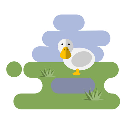 Flat cartoon duck icon on blue and green background