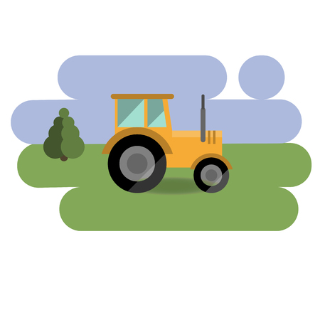 yellow tractor icon isolated over green and blue background. flat design Illustration