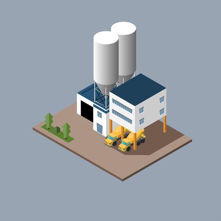 コンクリート ミキサーを読み込み再生コンクリートの製造のベクトル イラスト  イラスト・ベクター素材