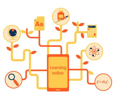 online degree: Flat vector illustration for e-learning and online education Illustration