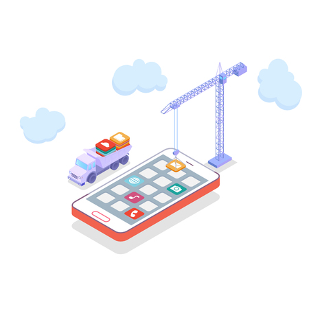 Mobile technology operating system creative process visualization flat 3d isometric infographic concept vector. Cranes placing building blocks mobile app icons to smartphone.