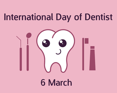 International day of dentist banner with teeth character. Vector illustration in flat style.