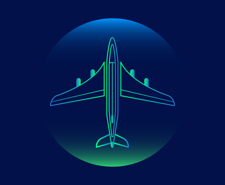 Modern neon thin icon of airplane on blue background illustration.