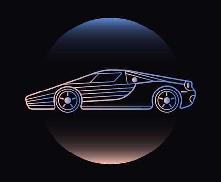 Modern Neon Thin Icon of car on Black Background.