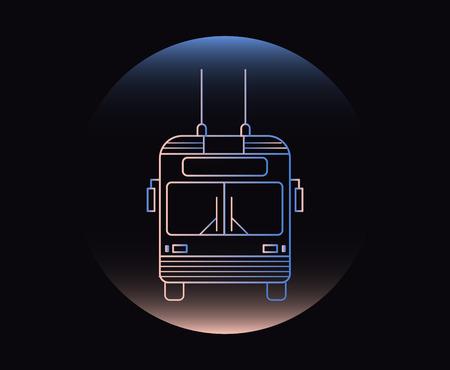 Modern Neon Thin Icon of trolley bus vector illustration Illustration