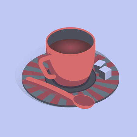 Vector illustration with 3D coffee cup n isometric flat style