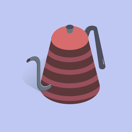 Vector illustration with 3D coffee or tea pot. Kettle in isometric flat style